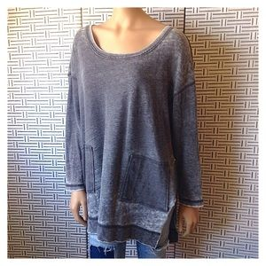 Free People Gray Slit Side Oversized Pullover